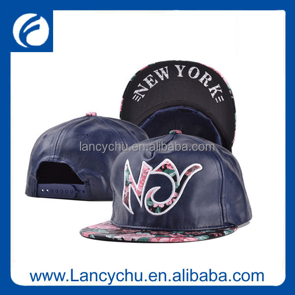 Fashion new arrival custom 5 panel embroidery leather snapback ny