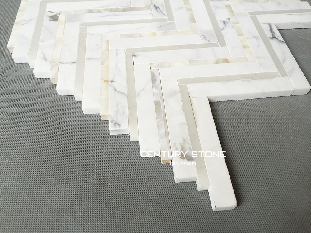 pure white marble and mother of pearl shell herrinbone mosaic tile