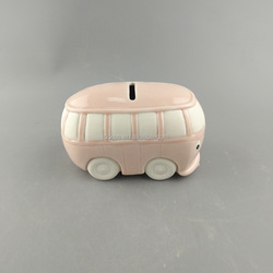 Kids gift custom bus shape ceramic coin box