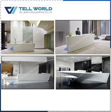 Classic style design acrylic reception desk white commercial service counter