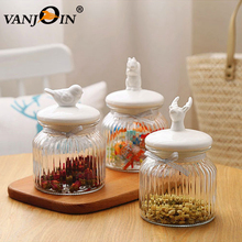 Wholesale Cheap Glass Candy Food Jar with Animal Shape Ceramic Lid
