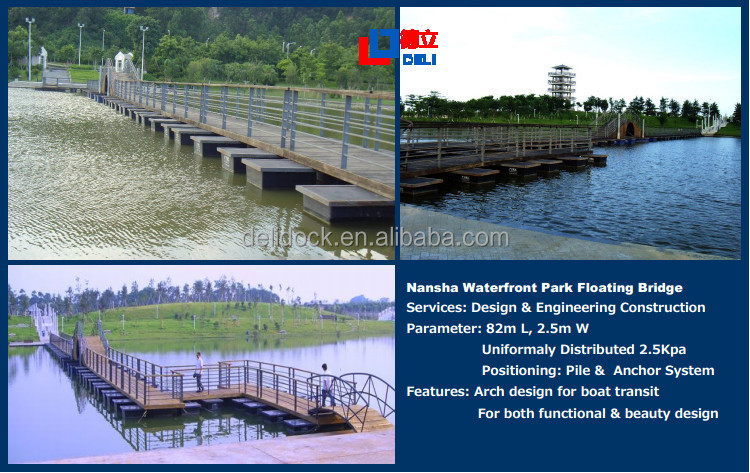 Durable Hardwood Marina Aluminum Frame Floating Pontoon Bridge