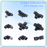 PE Union Tee Pipe Three Way T Type Push In Quick Air Fitting Connector PE-8 for PU hose