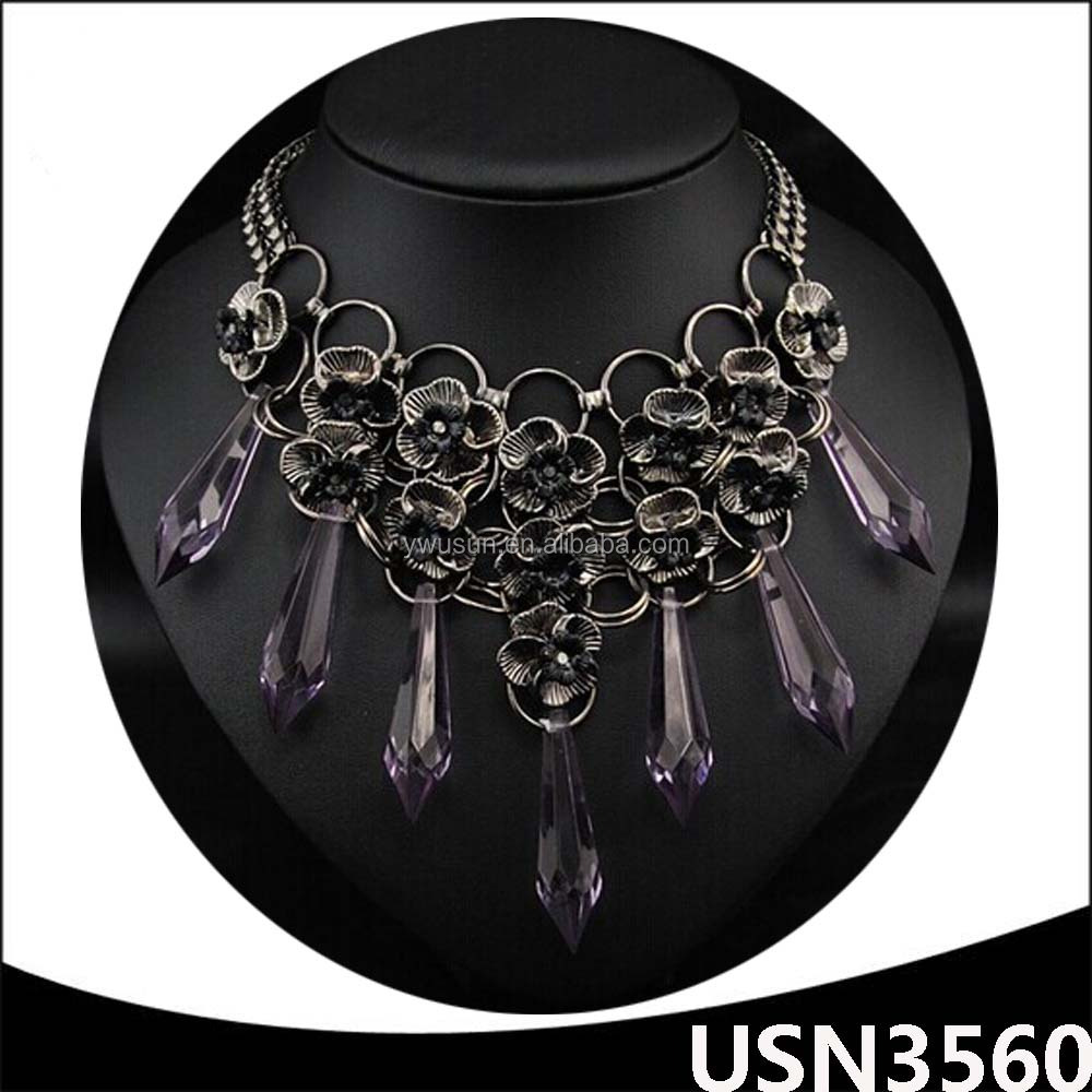 14k gold jewelry wholesale christmas plated gold silver artificial flowers statement necklace