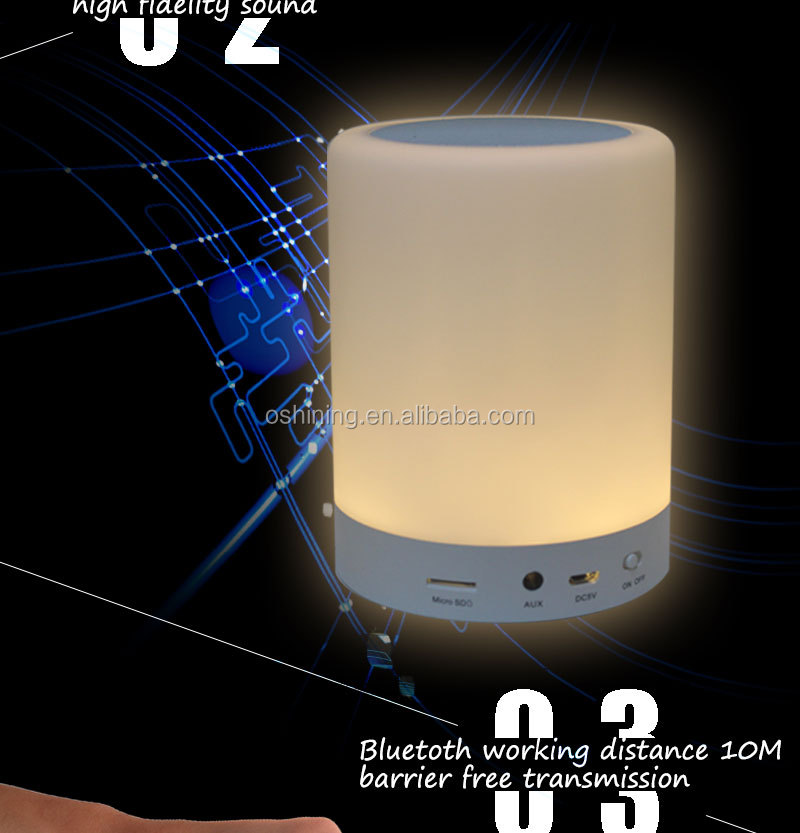 Fashionable Design Product Multi-function Wireless BT LED Speaker Lamp