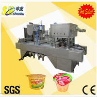 Liquid cottage cheese Gelatin dessert cup filling and sealing machine