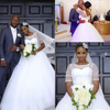 NE317 2018 African Casamento Simple Bridal Ball Gown Lace Wedding Dress illusion Half Sleeves Tulle Puffy Bride Gowns
