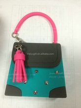 Lady purse shaped hand sanitizer silicone bottle case with bands