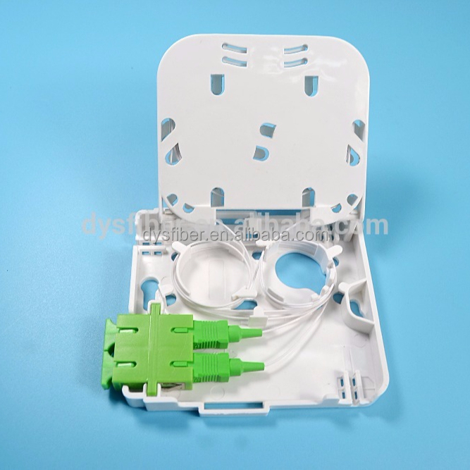 Indoor type 2 cores/ports FTTH fiber optic terminal distribution box