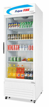 Upright glass display refrigerator