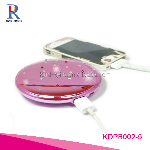 Attractive Shiny Diamond Crystal Round Power Bank cell phone charger