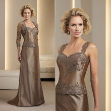 2014 Chocolate Spaghetti Straps Lace Applique Corset Taffeta A-Line Mother of the Bride Dress With 3/4 Sleeve Jacket NB0896