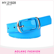 Popular fake designer belt with patent PU leather for women