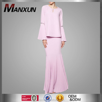 Fashion Baju Kurung Modern Design Beautiful Pleated Skirt with Wide and Beading SLeeve Pleated Cuff Baju Kebaya Malaysia