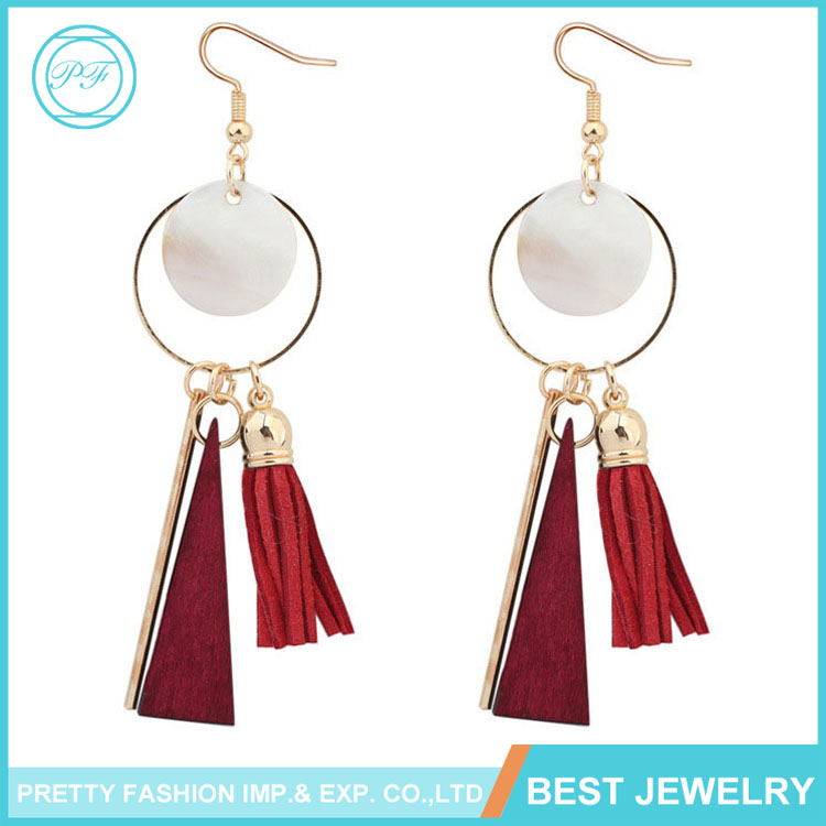 Wholesale Simple Design Korean Style Tassel Fashion Metal Jewelry Earrings For Women