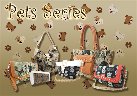 Dog Pattern Tote Bag with Studded Outside Pocket