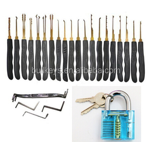 Bullkeys lake blue practice padlock with 24 pieces GOSO lock pick set for locksmith training set