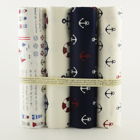 4PCS 40cmx50cm/piece 100% cotton fabric Sea anchor Printed fat Quarter for sewing clothes bedding quilting patchwork crafts