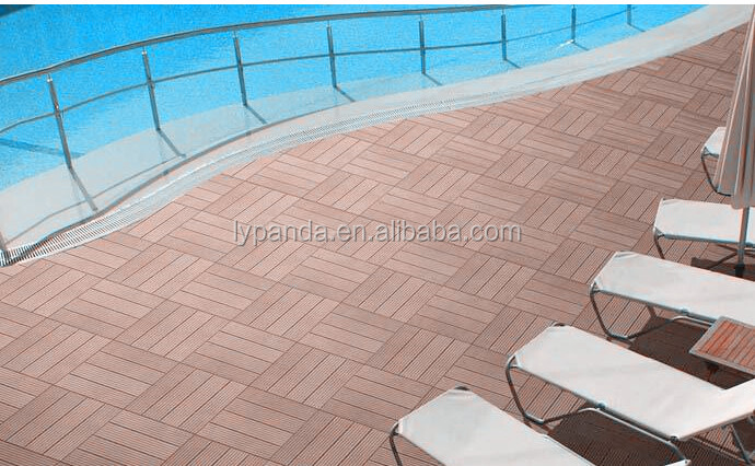 Outdoor Anti-UV Non-Slip Waterproof WPC DIY Decking Tiles for Swimming Pool