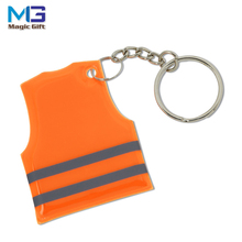 Factory supply high visible safety PVC vest reflective keychain