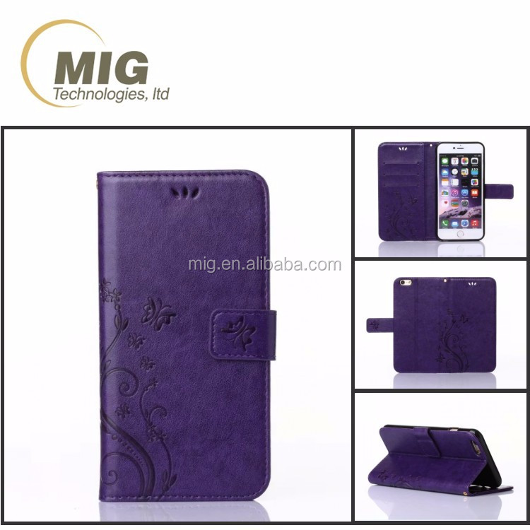 Mobile phone case for moto G3 wallet design leather cell phone flip cover case for motorola G3 with card slots and flower image