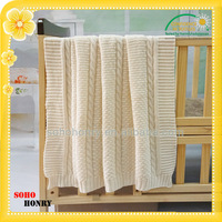 Breathable 100% Acrylic Jacquard Knit Plain Color Blanket Children
