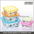 Hot sale 5pc square glass bowl with decal flower high white glass food container /glass bowl set