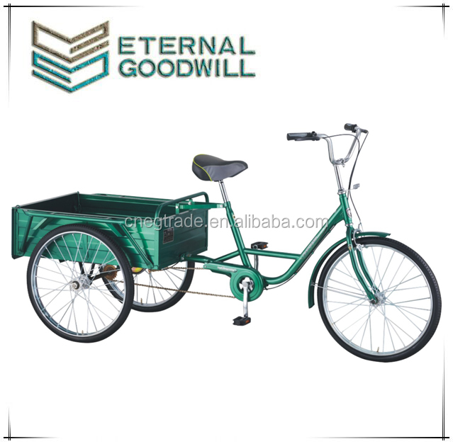Adult tricycle QG26-3S with rear box with 24 inch 3 wheel bike/cargo tricycle made in china