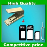 Nano Sim Card Cutter with Nano Sim Adapter Converter for iPhone 5 5C 5S For Apple 5 5S 4 4S For Samsung S3 S4 For HTC One