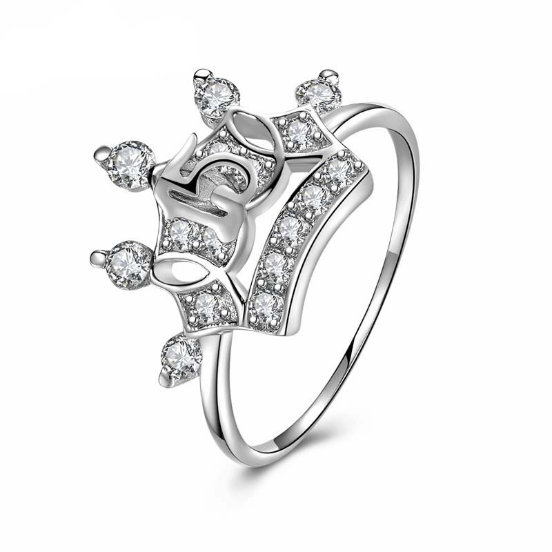 LOZRUNVE New Arrival 925 Silver Cubic Zircon Number 15 Princess Crown Engagement <strong>Ring</strong>