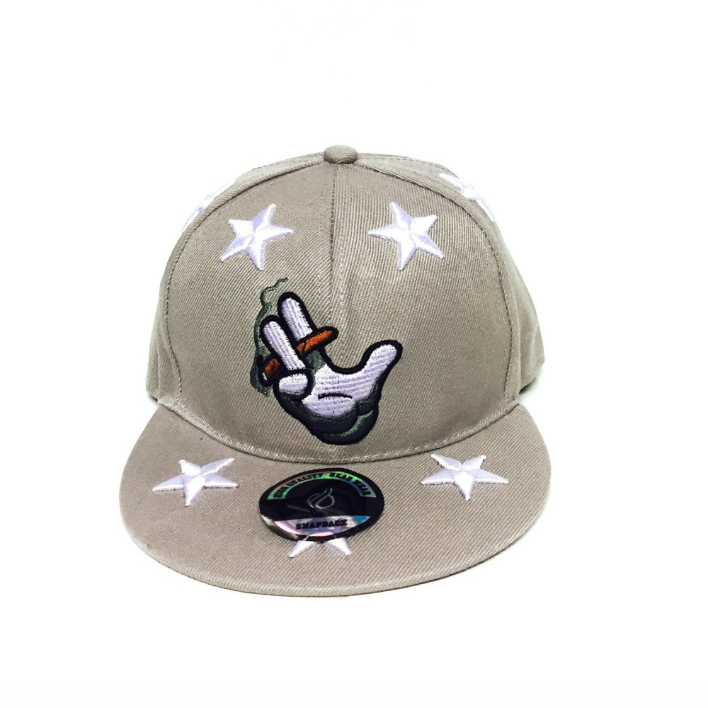 wholesale high quality funny snapback cap with cool smoking embroidery logo