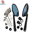 ZJMOTO Black Anodized Polished Surface Motorcycle CNC Rear View Mirrors With 8MM 10MM Thread