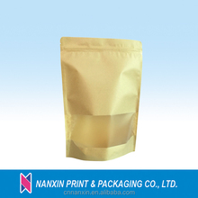 Eco-friendly stand up kraft paper bag for food packaging with window