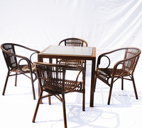 Natural Wood Look Finishing Rattan Dining Set
