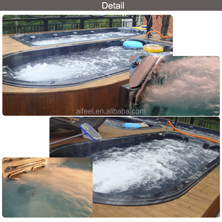 2017 hot sale Freestanding acrylic Balboa control hotel outdoor swim spa whirlpool massage swimming pool with led light