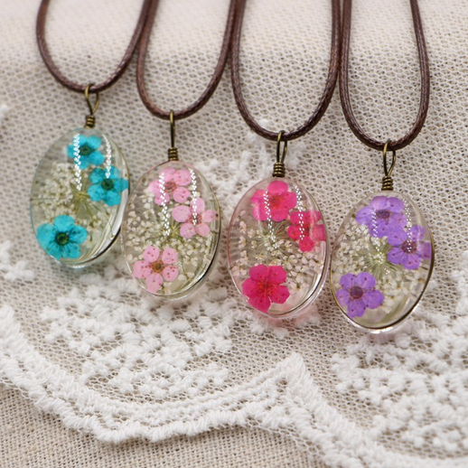 2017 Natural Real Dried Flower Resin Round Glass Floating Pendant Necklace wish glass ball choker necklace