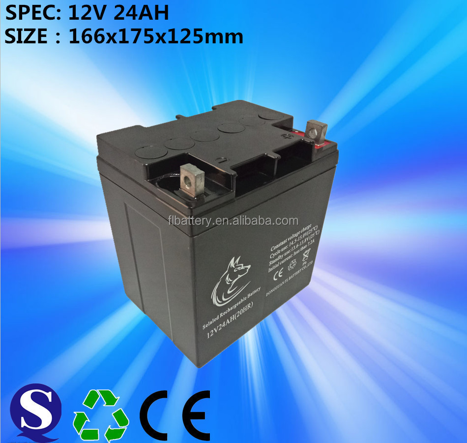 12V/24Ah with high quality gel battery for solar systems/wind power generation systems/UPS/inverter/EPS/street lamp