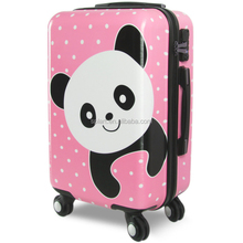 New design cute panda dots printed thicker aluminum trolley bags luggage