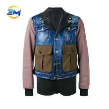 Good quality leather shirt collar cotton plaid sleeves multicolor joint denim jacket with customer's design