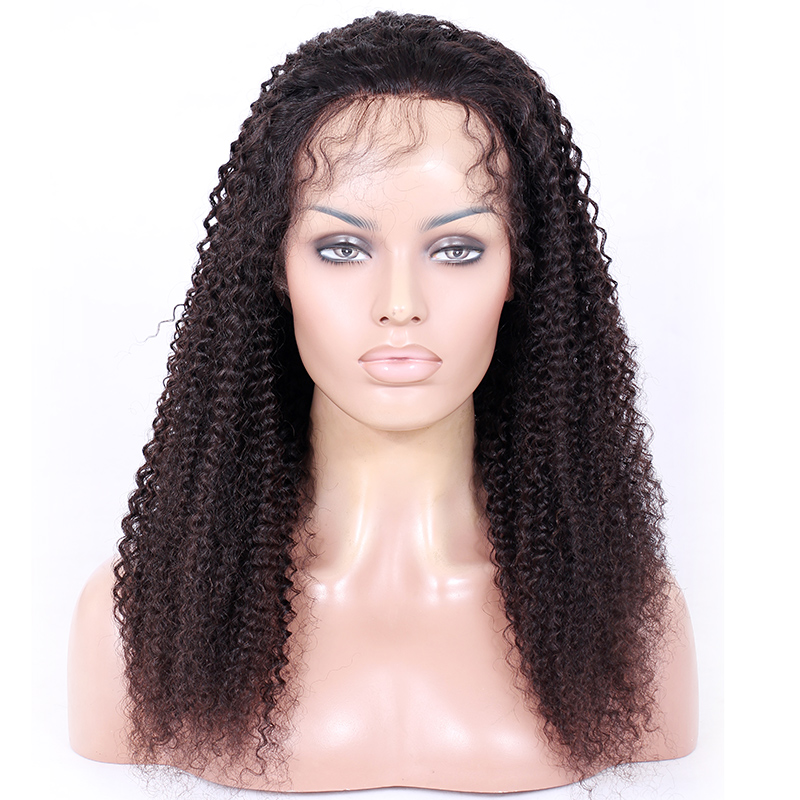 Bleached Knots Kinky Curly 100 Virgin Malaysian Human Hair Glueless Full Lace Wigs for African Americans
