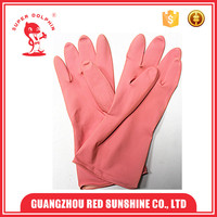 Pink latex rubber household washing gloves
