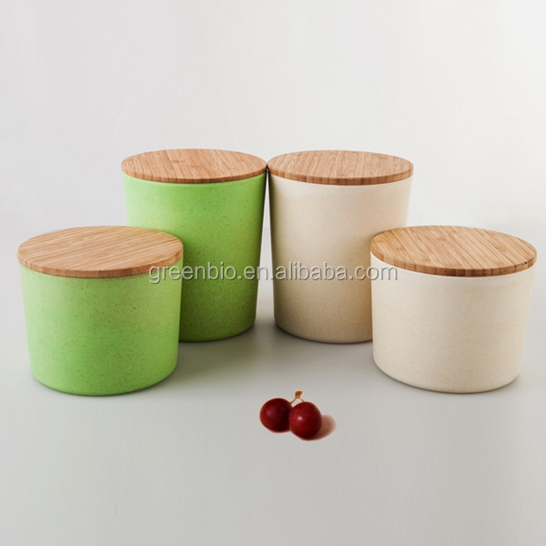 Hot sale Bamboo fibre seasoning bottle with bamboo lid, condiment set