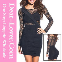 Custom Sexy Black Long Sleeve Lace Bodycon Girl evening Dresses for sale