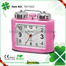2017 Wholesale fascinating Pink Roman Number Metal Twin Bell Alarm Clock for bedroom