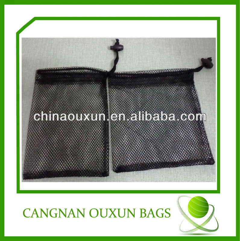 Black small nylon mesh drawstring bag