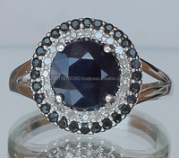 Certified 925 Sterling Silver wholesale 0.80 cts Sapphire Diamond women's engagement and fashion Ring