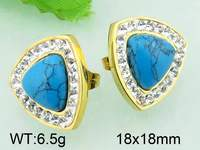 6.5g 18x18mm Unique Design Gold Plated Crystal Turquoise Earrings