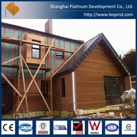 Prefabricated steel frame wood face style house