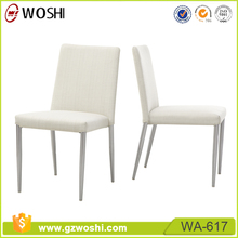 White mid back banquet fabric dining chair upholstered seat restaurant chair metal frame