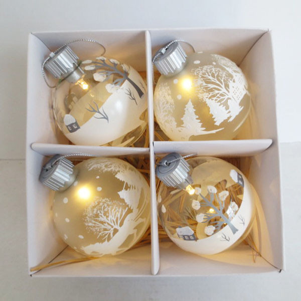 Snow scene Christmas LED glass bauble, 4 assorted